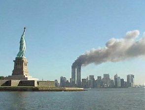 Statue of Liberty and WTC fire.jpg ...