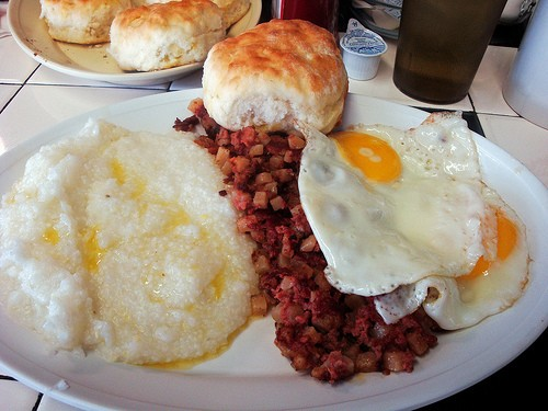 Corned Beef Hash, Grits, Biscuit