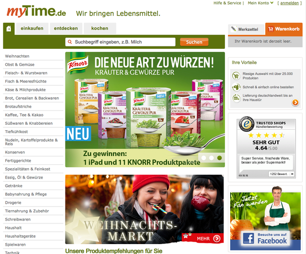 myTime.de - Screenshot vom Online Shop