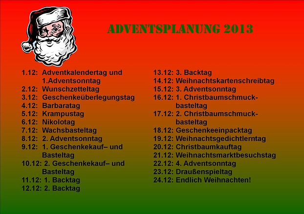 Adventsplanung 2013