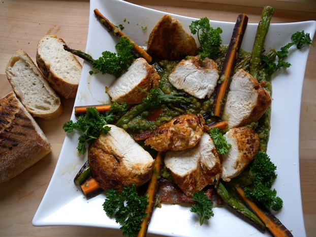 Hähnchen mit Linsen nach Jamie Oliver