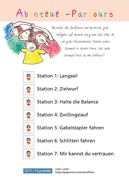 stempel karte fr parcours - Kinderturnen Gerateaufbau Beispiele