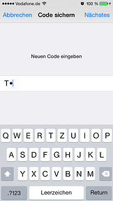 Code-Sperre mit Text